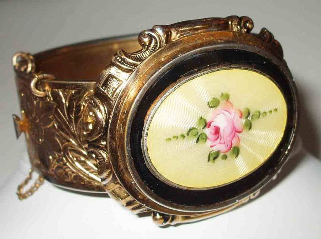 Absolutely Stunning Floral Rose Guilloche Cuff Bracelet