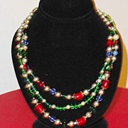 REDUCED Heavenly Hobe Signed Imitation  Pearl, Ruby,  Sapphire, and Emerald Necklace