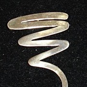Modernist 925 Sterling Zig Zag Brooch