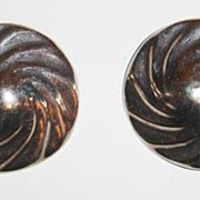 1970's Clip Back 925 Silver Earrings with Swirl Design