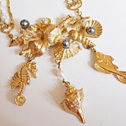 Vintage Napier Larger Than Life Sea Creatures Figural Necklace
