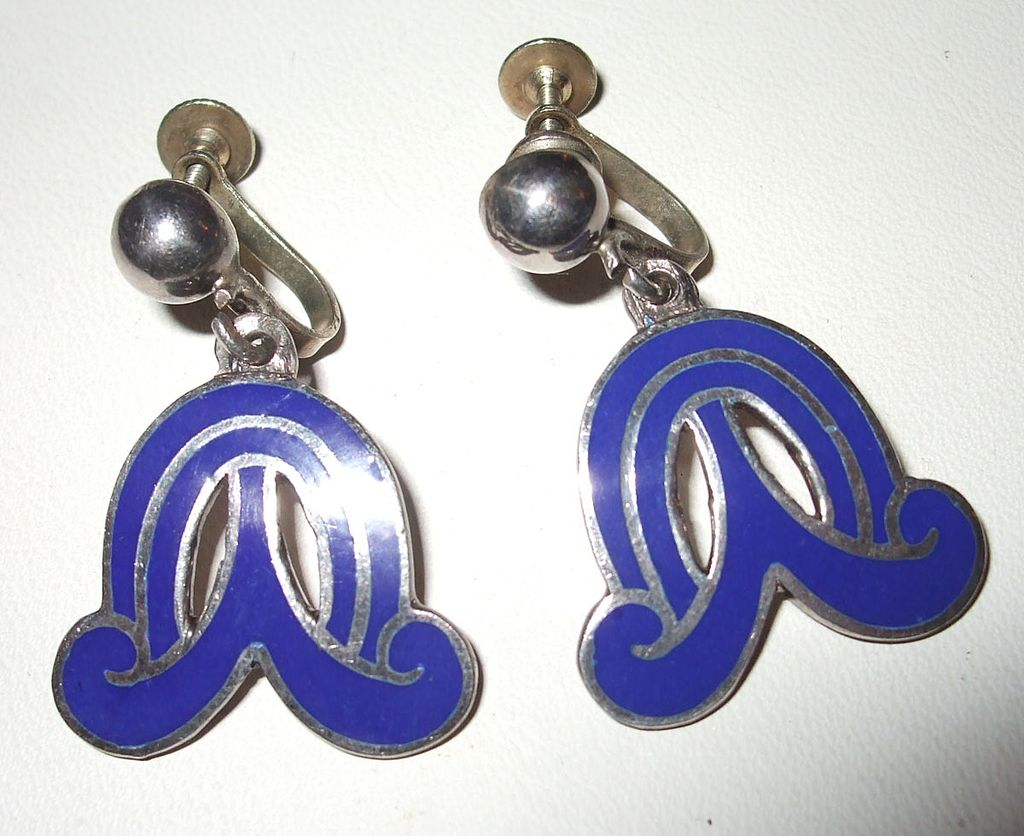 Modernist Taxco Mexican Sterling 925 Enameled Earrings with Signature