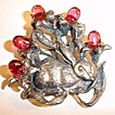 1930's Magic Rabbit in the Brush Figural Brooch with Raspberry Cabochons