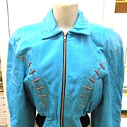 NORTH BEACH LEATHER 1980s Vintage Butter Soft Turquoise Leather Bomber Jacket by Michael Hoban
