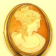 Highly Detailed and Pretty Faced Shell Cameo Brooch with Bale