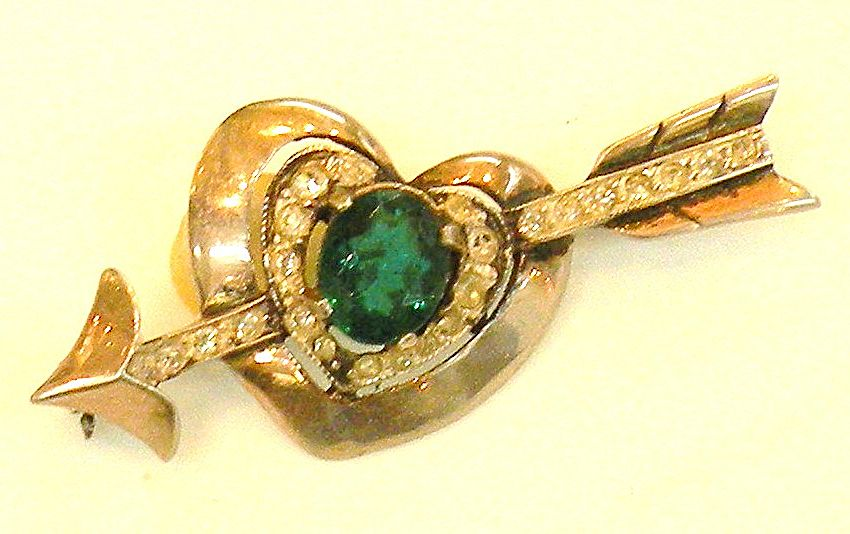 Arrow and Heart Sterling Brooch with Green Rhinestone
