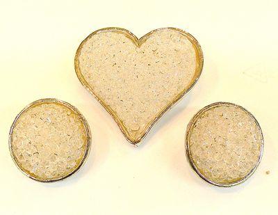 EDOUARD RAMBAUD PARIS CRYSTAL ROCK CANDY HEART BROOCH & EARRINGS SET