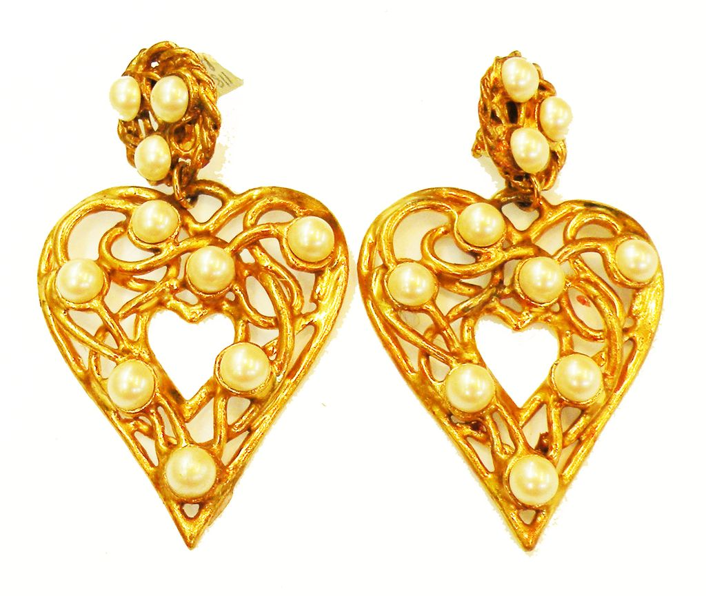 EDOUARD RAMBAUD Oversized Drop Heart and Imitation Pearl Earrings