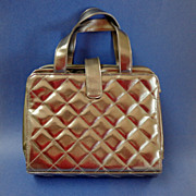 Lancome Lingerie / Make-up / Technological Devices Travel Bag.  Quilted Silver Material.  Mint