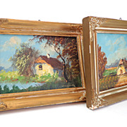 Pair Oil Paintings.  Rustic scenes.  Framed.  One signed.  Absolutely Charming.  V. Old.