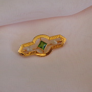 10K  Gold Tiny Antique Doll / Baby Brooch with Baroque Pearls & Emerald Green Stone. Signed Go