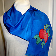 100% Silk Signed Batik Designed & Dyed Scarf.  Royal Blue with Apples.  Exquisite. Mint condit