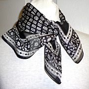 Adrienne Vittadini Designer Scarf.  100% Silk.  Black & White.  Mint condition.
