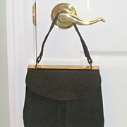 1940�s Retro Brown Suede purse with attached change purse & mirror guard.  Wonderful condition