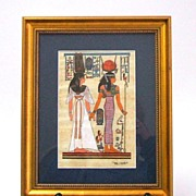 EGYPTIAN PAPYRUS  Original hand drawn rendering of ancient royal women.  Signed.  Beautifully