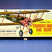Guillow�s American Thomas Morse S4C Scout Flying model kit.  1960�s.  Unmade.  Mint condition.