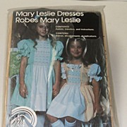 Vintage Classic Mary Leslie SMOCKING PATTERN.  Girls� sizes 5 6 7.  1980.