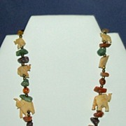 Elephants!  Artisan / Folk Necklace with Semi-precious Stones.  Interesting!  Mint condition.