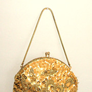 1950s Evening Bag  /  Clutch.  Gold. Sequins & Seed Beads.  Adorable!  Mint condition.
