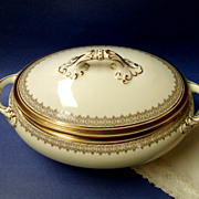 Superb Cauldon Large Lidded Tureen  /  Vegetable Dish. 1905-1920.  Gold & White.  Perfect ...