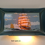 TV Lamp. Mid-Century Modern.  Wall Hanging.  Clipper Ship.  2 Lights! Perfect Condition!