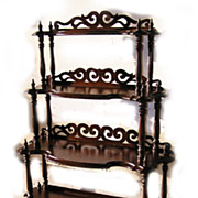 Walnut Etagere Waterfall Whatnot C. 1870