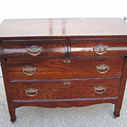 Victorian Two over Two Drawer Oak Ladies Bureau with Lion�s Head Pulls C. 1870
