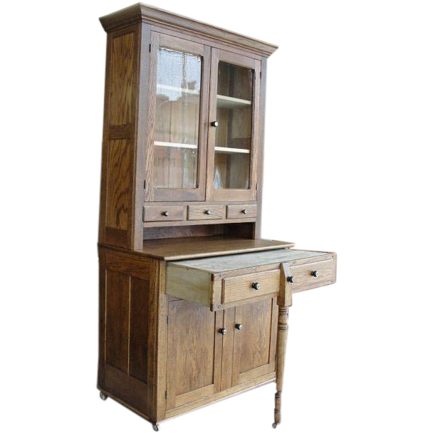 1900 oak 2 piece bakers kitchen cabinet with pull out