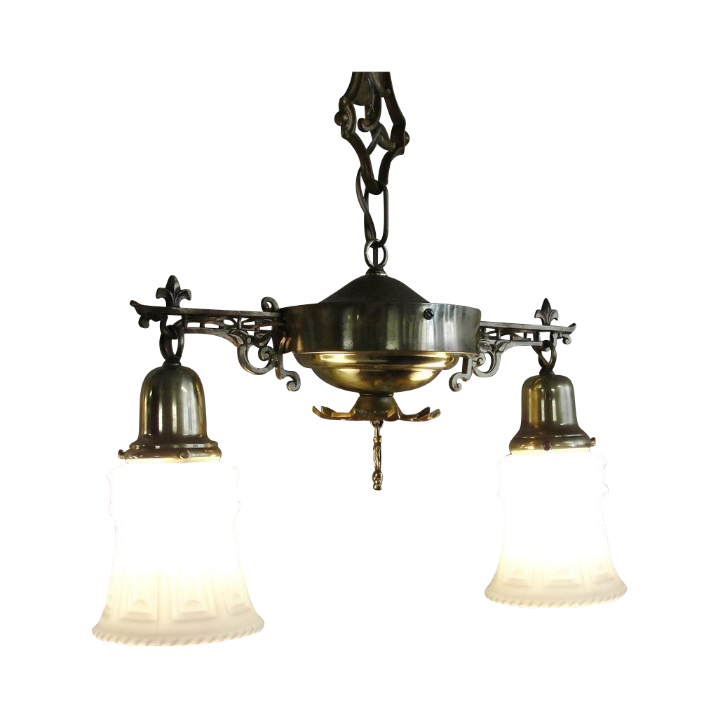 1920 39 s brass cast iron 2 arm hanging light fixture 2 from