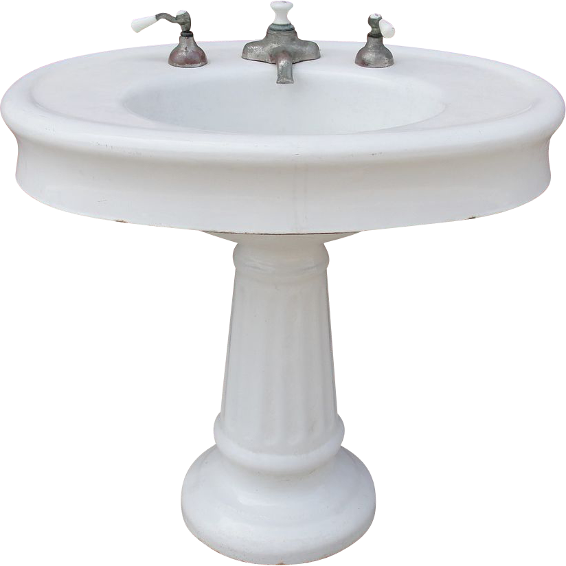 Antique / Vintage Oval Pedestal Porcelain Bathroom Sink Architectural ...