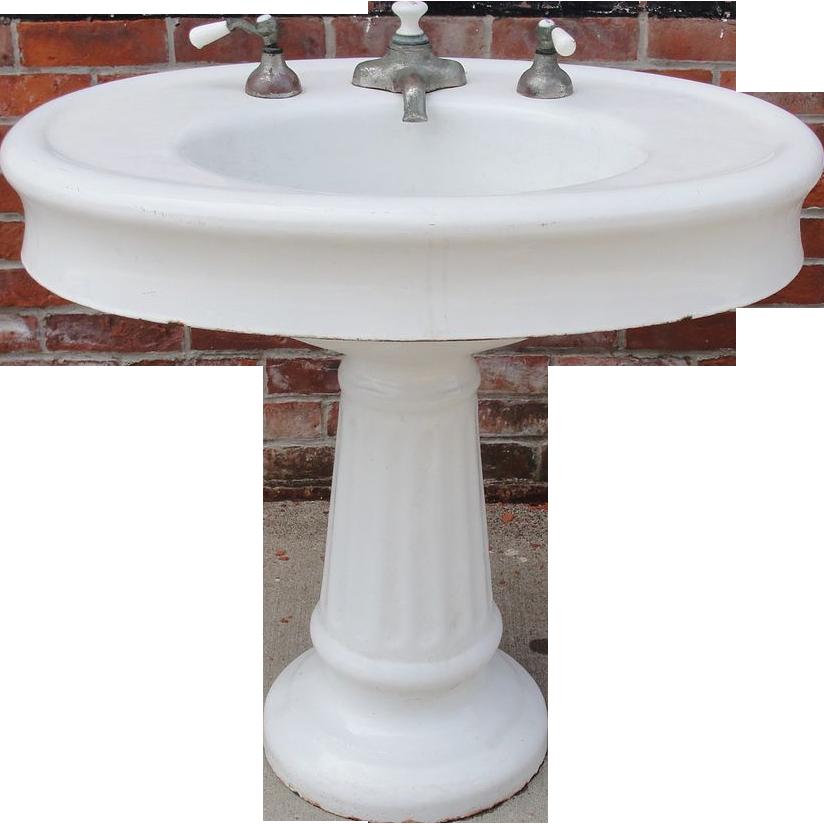 Oval Pedestal Sink : Antique / Vintage Oval Pedestal Porcelain Bathroom Sink Architectural ...