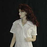 "Vintage 1960's 1970's white ""Mod"" daisy lace shirt dress"
