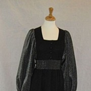 Vintage 1970's Black & Silver knit evening maxi dress ~ Richard Shops~ British