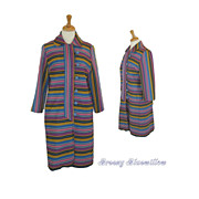 1960's Multi Colored stripe twill mod coat    Mad Men style