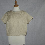 SOLD 1950's Cropped womens beige brocade blouse