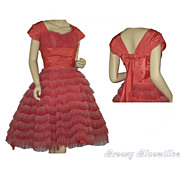 Vintage 1950's Prom/party dress undulating striped red and pink tulle