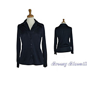 1970's Womens solid navy disco shirt