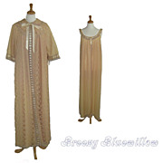 1970's Ecru lace peignoir negligee set New Old Stock