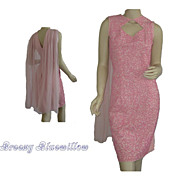 1960's Pink Beaded Evening Cocktail Wiggle Dress