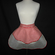 1950's Red & White Striped Swing Rockabilly Reversible Apron