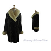 Vintage 1960's Brown Faux Fur Coat  Double Breasted