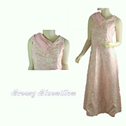 1960's Vintage Tea Length Evening Prom Pink & Silver Brocade Dress