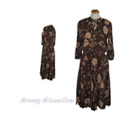 Vintage Polyester Secretary's 1970's Floral Dress