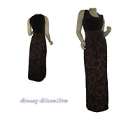 Vintage 1970's Coco California Brown & Tapestry Maxi Dress