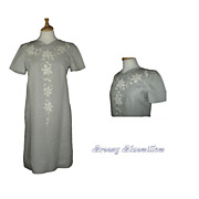 1960's Vintage Pale Gray Appliqued Cut Work Sheath Dress