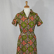 Vintage 1960's Mod Geometric Green and Pink Sheath Dress