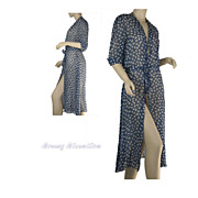 1930's Vintage Chiffon Navy Blue and White Robe
