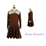 Vintage 1960's Brown & Cream Double-knit Dress with Full Skirt and French cuffs