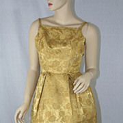 Vintage Gold Brocade Spaghetti Strap Evening Dress 1960's