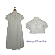 c.1890's Antique Victorian Ladies Night Gown ~ White Work Lace